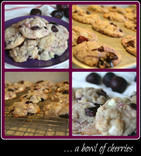 Cherry Cookies with white chocolate