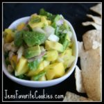 Salsa with mangoes and avocados