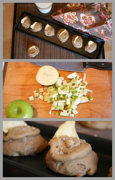 apple cookie with caramel frosting