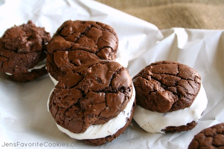 Double Chocolate Brownie Cookies with Marshmallow Creme Frosting