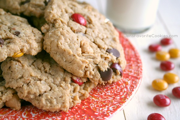 Monster Cookies from JensFavoriteCookies.com  -  These large peanut butter oat cookies are sure to be a hit with your little monsters!