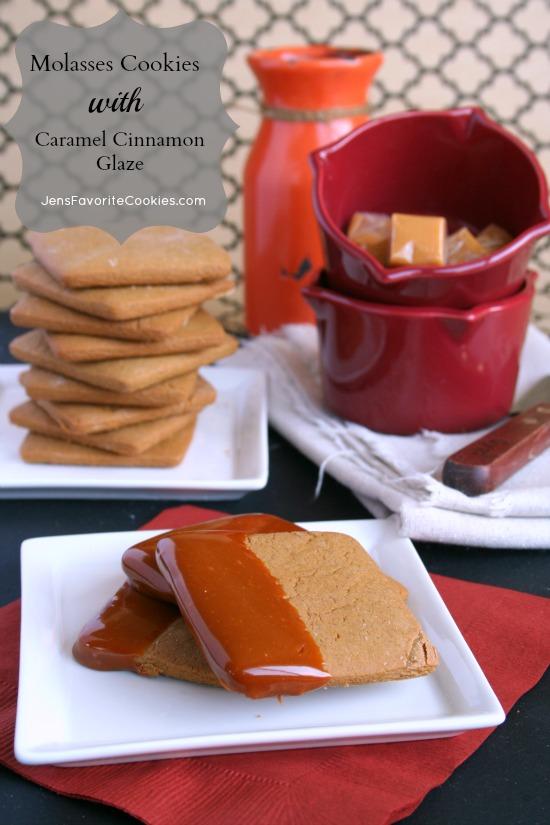 Molasses Cookies with Caramel Cinnamon Glaze | Jen's Favorite Cookies